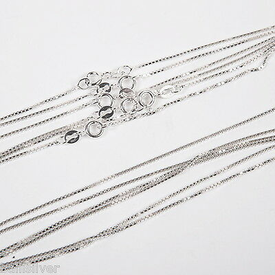 "10 pieces 18"" 45cm Italian 925 Sterling Silver thick BOX 022 Chain Necklaces Lot"