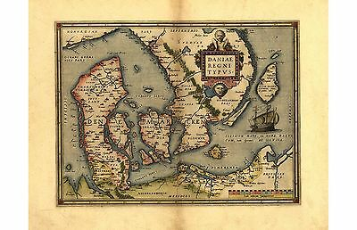 Ortelius Denmarcken Daniae Denmark Scandanavia Reproduction Old Antique Map NEW