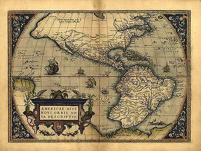 "Reproduction 19x13"" Old Colour Reproduction Map of North South America Americas"