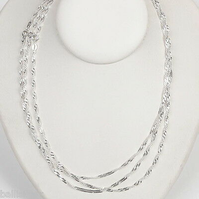 "12 St Silver 925 2.4mm SINGAPORE Chains Lot 18"" 20"" 24"""