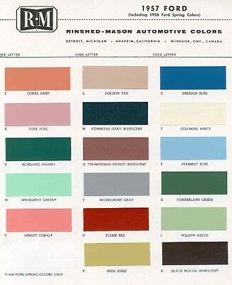 1957 Ford Paint Color Sample Chips Card Oem Colors