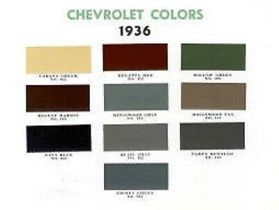 1936 Chevy Paint Color Sample Chips Card Oem Colors