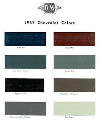 1937 Chevy Paint Color Sample Chips Card Oem Colors