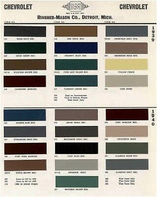 1939 -40 Chevy Paint Color Sample Chips Card Oem Colors