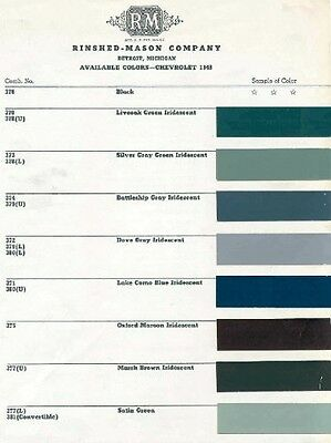 1948 Chevy Paint Color Sample Chips Card Oem Colors