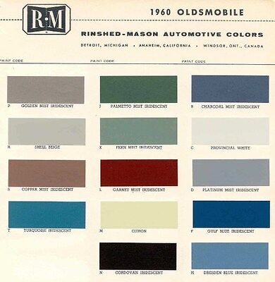 1960 Oldsmobile Paint Color Sample Chips Card Colors