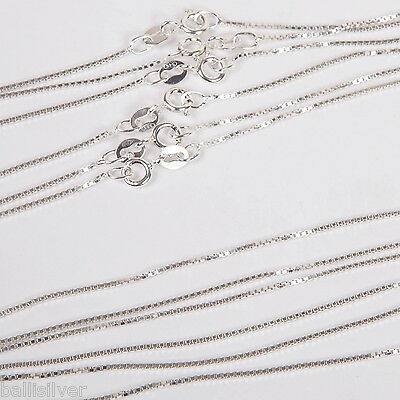 "30 pieces 18"" 20"" Italian 925 Sterling Silver 1mm BOX 015 CHAIN NECKLACES Lot"