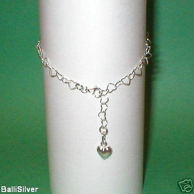 20 St Silver HEART Chain & Charm Adjustable ANKLETS Lot