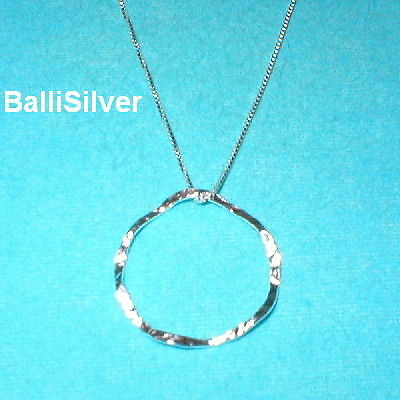 6 Silver 28mm HAMMERED WAVY CIRCLE Pendants +BOX Chains