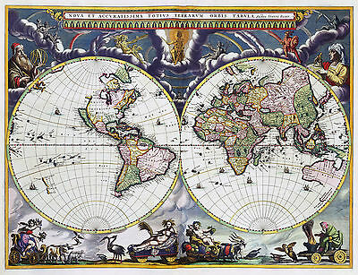 2 Reproduction Antique Old Colour Color Blaeu & Goos Decorative World Maps NEW