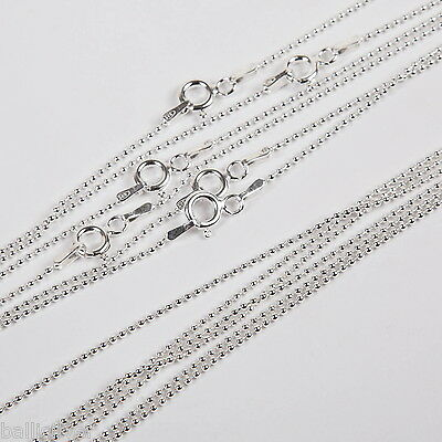 "100 pcs 16"" 18"" 20"" Sterling Silver 925 1.2mm BALL Chain Necklaces Wholesale Lot"