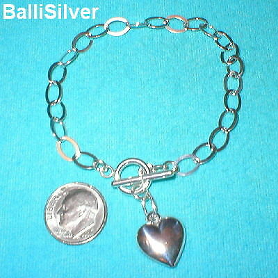 4 Silver CABLE Chain HEART Charm Toggle BRACELETS Lot