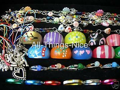 PARTY BAG Filler Fashion Jewellery Lucite Rings Bracelets Mobile Charms 100