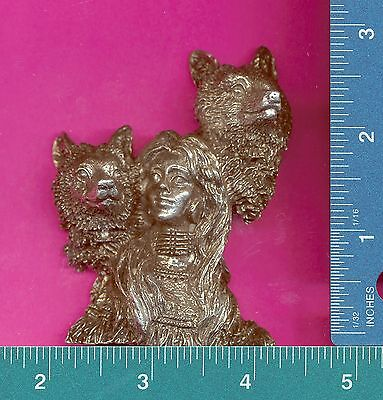 Lead free pewter indian maiden wolves figurine Q13003