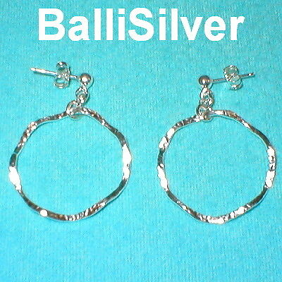 4 pairs Sterling Silver HAMMERED Wavy CIRCLE EARRINGS