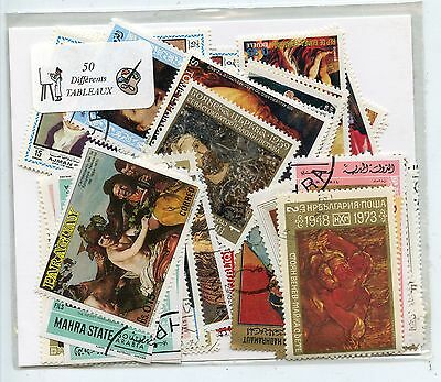 Lot De 50 Timbres Themes Tableaux Differents