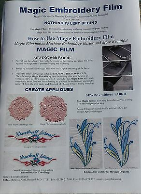 Magic Embroidery Film / backing for embroidery Machine 2mtr   Trial Size A815