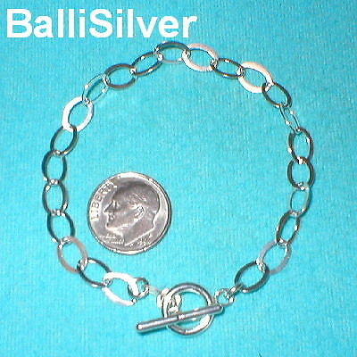6 St Silver 6x8mm Flat CABLE Chain Toggle BRACELETS Lot
