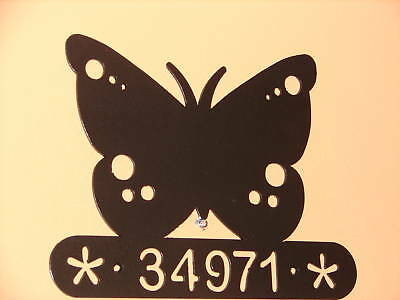 Butterfly Home Address Sign Plaque Personalized  Metal Art Decor