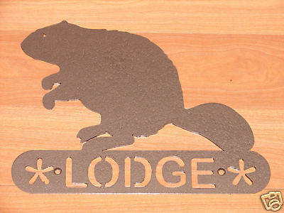 Beaver Metal Home Address Sign  Wall Decor House