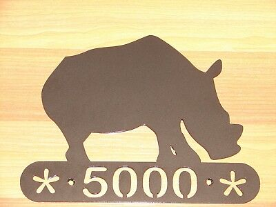 Rhino Rhinoceros Metal Home Address Sign  Decor House