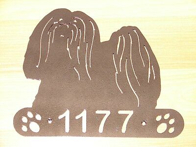 Lhasa Apso Metal Home Address Sign House Dog Decor Dog