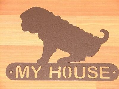 Shar Pei Metal Home Address Sign House Decor Dog Plaque