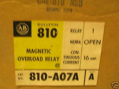 Unused Allen Bradley Magnetic Overload Relay   810-A07A