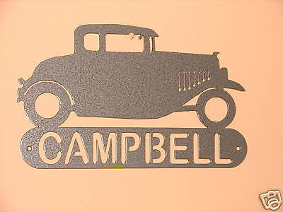 Hot Rod Metal Address Plaque Home Wall Sign Classic Car Coupe Vintage Automobile