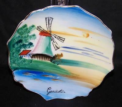 Japanese Small Decorative Signed Windmill Wall Plate
