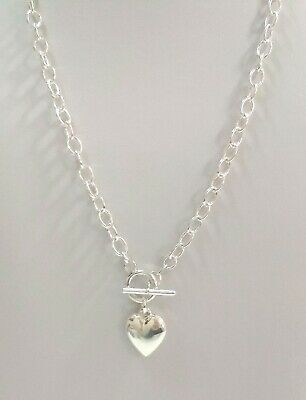 3 Sterling Cable Chain HEART Charm Toggle NECKLACES 18""