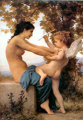 Young Girl & Cupid by William Bouguereau Cotton Canvas or Fine Art Poster Print