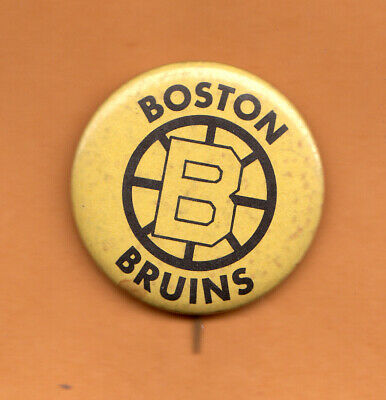 1950s BOSTON BRUINS STICK PINBACK BUTTON Unsold Stock