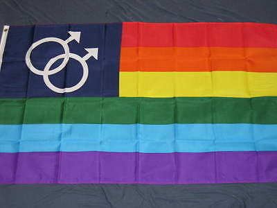 3X5 DOUBLE MALE RAINBOW FLAG GAY PRIDE BANNER SIGN F785