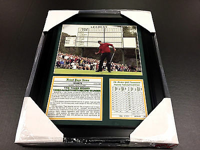 TIGER WOODS FRAMED 8x10 PHOTO AUGUSTA RECORD-18 1997 MASTERS CHAMPION PGA