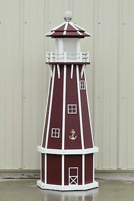 5' Octagon Handcrafted Polywood Lighthouse (cherry/white trim)