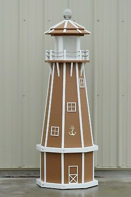 5' Octagon Electric and Solar Powered Poly Wood Lighthouse (Carmel/white trim)