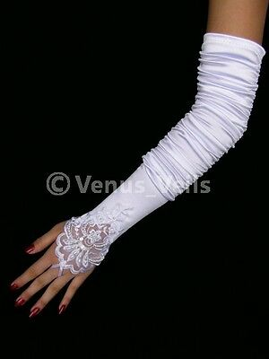 "18"" Ivory Bridal Wedding Pearl Beaded Fingerless Gloves"