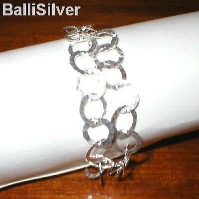 4pcs St Silver 10mm HAMMERED CHAIN Two Strand BRACELETS