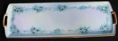 ANTIQUE HP PORCELAIN BREAD TRAY AUSTRIAN BLUE FLORAL