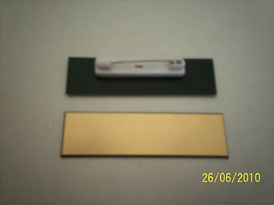 10 Gold/black, blank name badges tags, with pins.