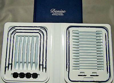 Denise Interchangeable Knitting Needles Single Set #5-#19 Cords Extender Buttons