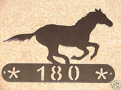 Horse Metal Home Address Sign Wall Decor House Mustang