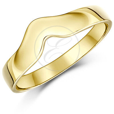 9ct Yellow Gold Ring Curved Wishbone Wedding Band Solid & Hallmarked 3mm Band