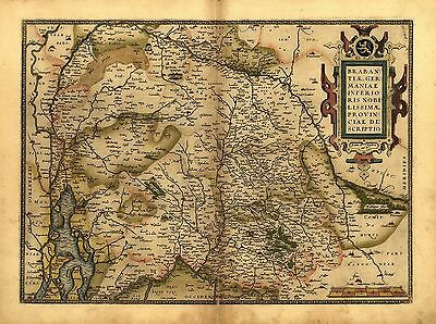 "17x13"" inch Brabant Ortelius Vintage Old Antique Belgium Colour Holland Map NEW"