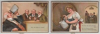 Vintage German Card Two Sided Beer Hall Characters