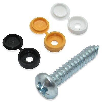 """30 Pack, Number License Plate Fixing Kit - 1"""" Self-Tapping Screws & Cover Caps *"""