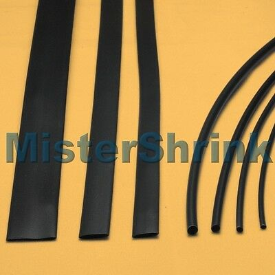 Heat Shrink Tubing 7 x 1m Black HeatShrink Tube Sleeve Sleeving Kit Pack