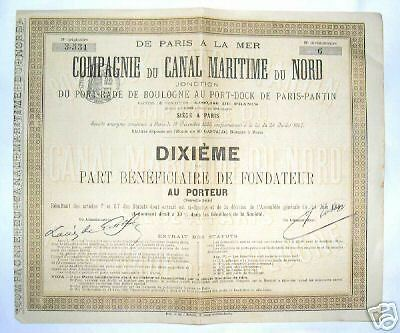 part beneficiaire canal maritime du nord  ( 285 )