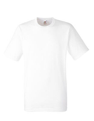 T-Shirt 30x Herren Kurzarm Fruit of the Loom Weiß Doppelnähte Baumwolle 185 g/m²